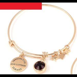 Purple Charm Bangle Bracelet February/Amethyst